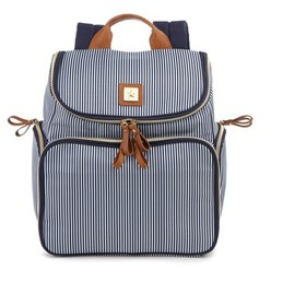Bananafish Striped Breast Pump Backpack - Blue/Whi