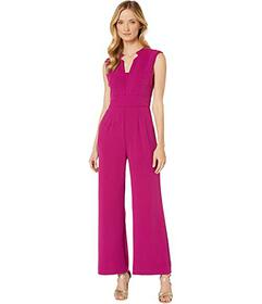 Tahari by ASL Notch Neck Stretch Crepe Jumpsuit