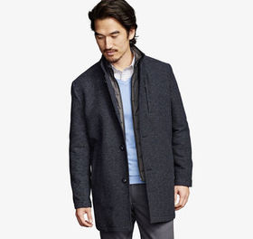 Johnston Murphy Dash Weave Wool Coat with Quilted
