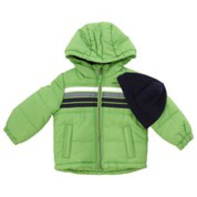LONDON FOG Toddler Boys Hooded Stripe Accent Puffe