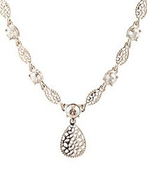 Marchesa Filigree Goldtone and Crystal Pendant Nec