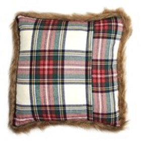 R&F Tartan Print Faux Fur Trimmed Throw Pillow 18""