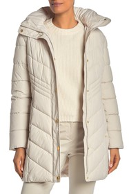 Anne Klein Missy Faux Fur Trim Hood Quilted Jacket