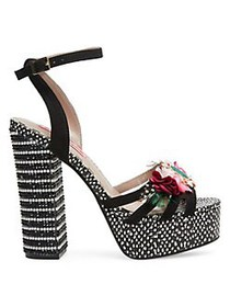 Betsey Johnson Marlo Embellished Floral Ankle-Stra