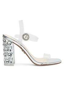 Betsey Johnson Erika Embellished PVC Sandals SILVE