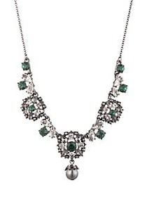 Marchesa Faux Pearl & Crystal Necklace SILVER