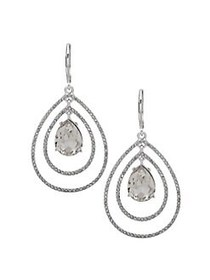 Anne Klein Silvertone and Crystal Orbital Drop Ear