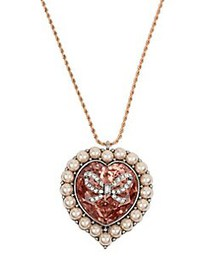 Betsey Johnson Rose Goldtone Heart Pendant Necklac