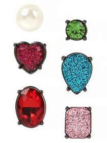 Betsey Johnson 3-Pairs Multicolored Crystal & Faux