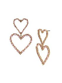 Betsey Johnson Goldtone & Pink Crystal Open Heart