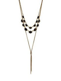 Lucky Brand Goldtone and Black Agate Tassel Layere