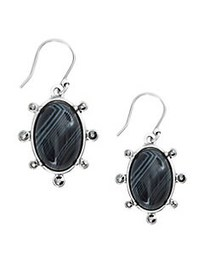 Lucky Brand Silvertone and Black Agate Drop Earrin