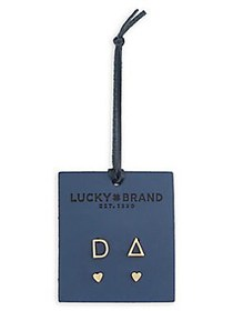 Lucky Brand Official Initial Set-of-2 Goldtone Ear