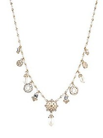 Marchesa Shaky Goldtone, Faux Pearl & Crystal Neck