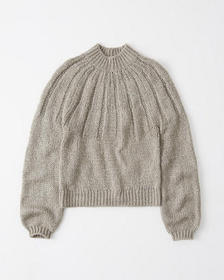Fuzzy Mock Neck Sweater, TAUPE