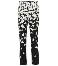Valentino Floral wool and silk crêpe pants