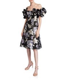Aidan Mattox Off-the-Shoulder Floral Jacquard Ruff