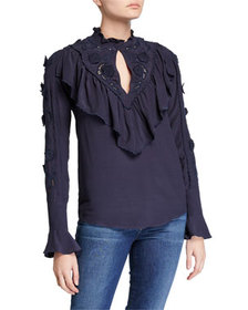 See by Chloe Fluid Jersey Eyelet-Embroidered Ruffl