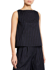Adam Lippes Striped Cotton Sleeveless Shell