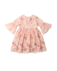 Charabia 3D Flower Pompom Embroidered Dress, Size