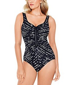 Drop Everything Printed Zipper One-Piece Swimsuit