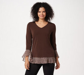 """As Is"" Susan Graver Textured Liquid Knit Tunic wi"