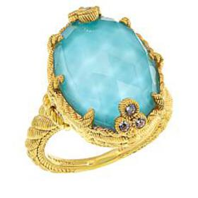 Judith Ripka Gold-Plated Oval Turquoise/Quartz Dou