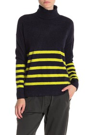 Vince Camuto Striped Turtleneck Lightweight Sweate