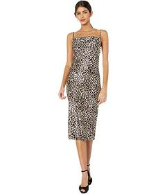 Bebe Printed Satin Bias Midi Dress