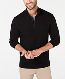 Men's Quarter-Zip Ribbed Placket Sweater, Created