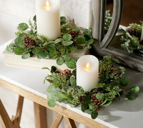 """""""As Is"""" Set of 2 Frosted Eucalyptus and Cedar Cand"""