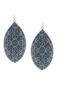 Olivia Welles 14K Gold Plated Printed Drop Earring