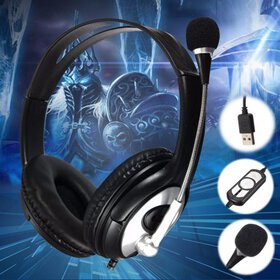 Stereo Super Bass 3.5mm Leather Gaming Headset Hea