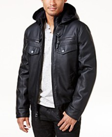 INC Men's Faux Leather Hooded Bomber Jacket, Creat