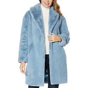 """As Is"" Adrienne Landau Faux Mink Shawl Collar Coa"