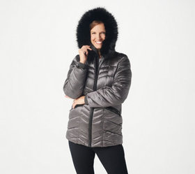 Dennis Basso Water Resistant Hooded Puffer with Fa