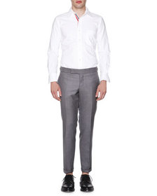 Thom Browne Slim-Leg Flannel Trousers, Medium Gray