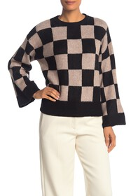 Vince Camuto Checkered Crew Neck Knit Sweater