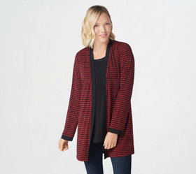 Susan Graver Printed Liquid Knit Cardigan with Sol