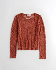 Hollister Slim Lace Top, BLACK