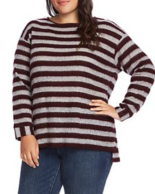 VINCE CAMUTO Plus - Fuzzy Striped Sweater