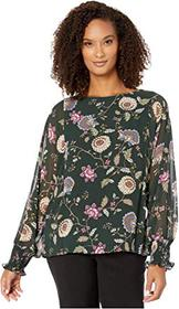 Vince Camuto Batwing Floral Chiffon Overlay Blouse