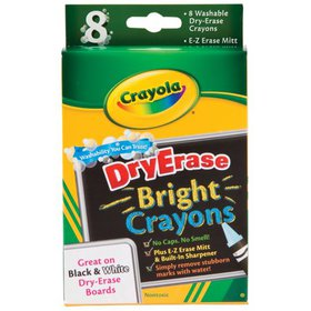 Crayola Washable Dry-Erase Crayon Set, 8-Colors, B