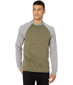Hanes Beefy-T Long Sleeve Color Block Henley