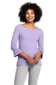 Lands End Women's Cashmere Ruffle Sleeve Boat Neck