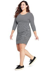 Lands End Women's Plus Size 3/4 Sleeve Shirred Sid