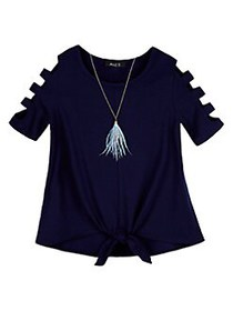 Ally B Girl's Tie-Front French Terry Top NAVY