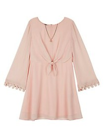 Ally B Girl's Tie-Front Roundneck Dress ROSE