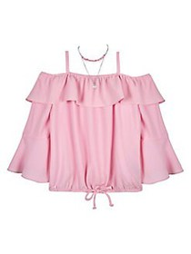Ally B Girl's Off-the-Shoulder Top PINK