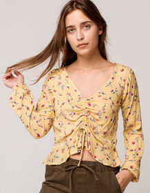SKY AND SPARROW Cinch Front Womens Peplum Top_